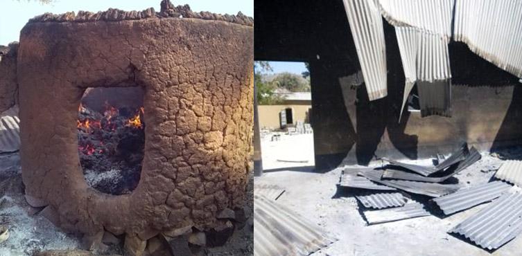 Eines der in Brand gesetzten Häuser (links) und eine Union des Eglise Evangelique -Kirche (rechts).
